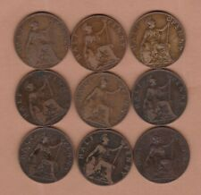 More details for set of nine 1902 to 1910 edward vii halfpennies fine to very fine condition