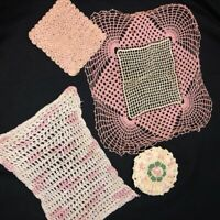 Vintage Mid Century Hand Crocheted Doilies Lot of 4 Asst Pink Doilies + Hot Pads
