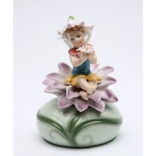 "NEW PORCELAIN FAIRY MUSICAL PURPLE FLOWER ""EVERYTHING IS BEAUTIFUL"" MUSIC BOX"