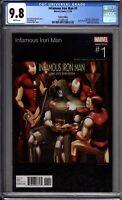 Infamous Iron Man 1 CGC Graded 9.8 NM/MT Hip Hop Variant Marvel Comics 2016