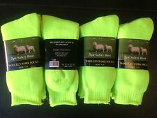 12 PAIRS QUALITY WOOLLEN MENS WORK BOOT SOCKS SIZE: 7-11 (HIGH VISIBILITY GREEN)