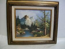 Painting Mountains and Cottage Oil on Canvas in Wooden Frame Vintage