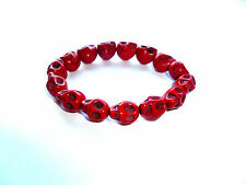 Halloween Rosso Turchese Perlina scolpito SKULL HEAD Bracciale Punk Gothic Rock Rebel