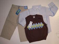 NWT Gymboree Aviator 3 3T Brown Argyle Vest Khaki Pants & Blue Shirt