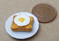 1:12 Scale 2.5cm Plate Of Egg On Toast Dolls House Miniature Food Accessory
