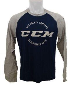 CCM Hockey Long Sleeve T Shirit Midnight Navy/Grey Senior/Adult