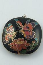 LARGE VINTAGE CLOISONNE BUTTERFLY PENDANT BLACK BACKGROUND