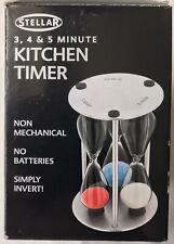 More details for stellar 3,4 &5 minute timer retro vintage triple hour glass egg timer style bnib