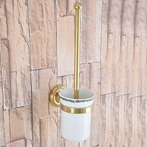 Gold Color Brass Bathroom Toliet Brush Holder Ceramic Cup Wall Mounted fba594