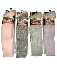 3 pairs ladies long wool blend padded sole wellington boot socks.size4-7