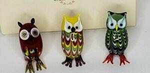Lenox Owls Murano Glass Lampwork Art Style Multi Colors Box Set of 3