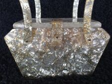 Charles Kahn - Lucite Purse Pearlescent Swirl Gold Flecked Etched Top