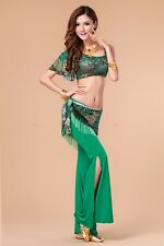 Practice peacock Belly Dancing Costumes Set Top pants Hip scarf