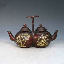 Chinese Purple bronze  Hand Carved Two spout teapot & cover