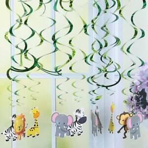 30 Pcs Safari Jungle Animal Dangling Streamers Decorations for Kids Baby Shower