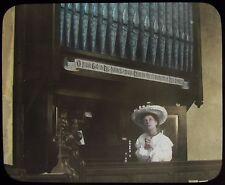 Glass Magic Lantern Slide THE LOST CHORD NO5 C1910 EDWARDIAN STORY CHURCH ORGAN
