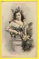 """cpa BERGERET Dos 1900 FEMME Langage des FLEURS """"ORCHIDÉE"""" Journal L'ECLAIR"""