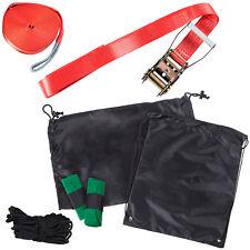 Slackline Set 15 m mit Ratschenschutz, Baumschutz und Hilfsseil – Slackline-Set
