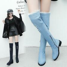 Women Casual Denim Long Boots Knee High Chunky Low Heels Side Zipper Boots Shoes