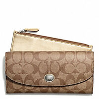 NWT $228 Coach Peyton Signature Slim Gold Envelope Wallet + Wristlet Pouch NEW