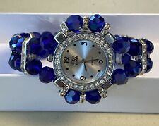Silver Accents Magnet Closure w/Box Handmade Watch Bracelet Blue Crystal Beads