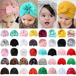 Newborn Baby Infant Bowknot Turban Head Wrap Boy Girls India Beanie Hat Soft Cap