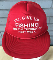 VTG Novelty I'll Give Up Fishing Mesh Trucker Snapback Baseball Cap Hat