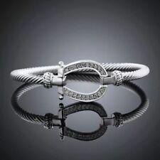 925 Sterling Silver Twisted Cable Simulated Diamond Horseshoe Bangle Bracelet