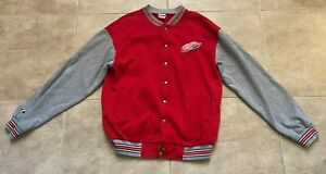 Majestic Detroit Red Wings Red & Gray Varsity Snap Front Jacket Men's L Large