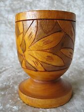 Rare! Hawaiian Wood Turning Flower Vase Hand Carved with Bird of Paradise Flower