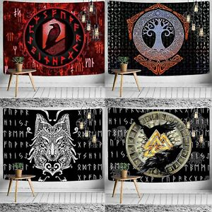 Viking Tapestry Raven Rune Nordic Norse Meditation Psychedelic Wall Hanging Deco