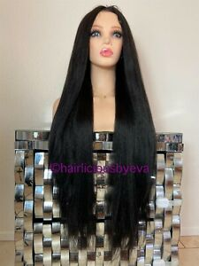 Black Straight Wig Soft Yaki Middle Part  32 Inch extra Long Heat Ok