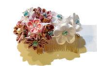 Cherry Blossom Design Japanese Kanzashi Hair Comb With White And Pink Flowers