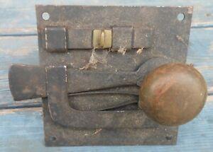 Early Iron Door Latch Lock Brass Knobs