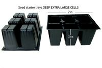 600 Deep Extra Seedling Seed Starter - 100 Trays Inserts Large Cells + 30 labels