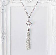Anni 1920 20 / GATSBY / 1920's lunga collana argento con ciondolo Diamanté e nappa