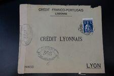 PORTUGAL CARTA CENSURA MILITAR Nº368 CENSOR DE LA COVER LISBOA -> LYON