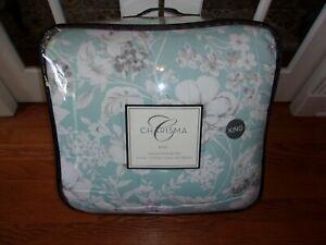 NIP Charisma Luxury Molani Aqua/Gray/White King Floral Comforter Shams & Bedskir