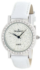 Peugeot Women's Crystal Dial White Leather Strap Watch 1287