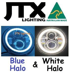 "7"" Headlights BLUE and WHITE Halo  Datsun 1200 1300 2402 2602"