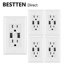 [5 Pack] BESTTEN 3.6A Wall Outlet w/ 2 USB Ports / AC Socket Wall Plate UL White