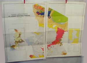 Lot 4 anciennes Cartes Géologique de l'A.E.F. 1956 AFRIQUE Française 1/2.000.000