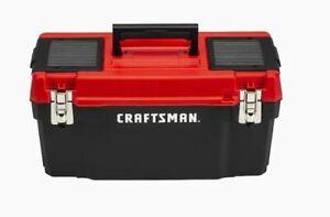 CRAFTSMAN DIY 20-in Red Plastic Lockable Tool Box Portable Pad Lock Eye 16 Lbs.