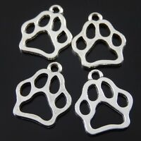 10pcs Antique Silver Alloy Dog's Paw Charms Pendant 17*17mm Clearance Sale