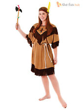 Size 10- 18 Ladies Red Indian Fancy Dress Costume Native Squaw Pocahontas Womens
