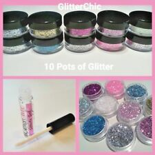 10 Loose Chunky Glitter Dust Pots Eye shadow Face Body Festival Nail Art Party