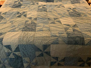 """Blue cotton PATCHWORK quilt 80 """" x 80"""" TWIN/FULL"""