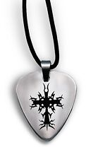 """Forgiven Jewelry Stainless Steel Guitar Pick Necklace on 18"""" Black Leather Cord"""