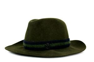 MAISON MICHEL Olive Green Felted Wool Logo Strap Detail Fedora Hat S
