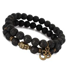 Mens Lava Stone Buddha Beaded Bracelet Lucky Yoga Energy Wrist Mala OM Bracelets